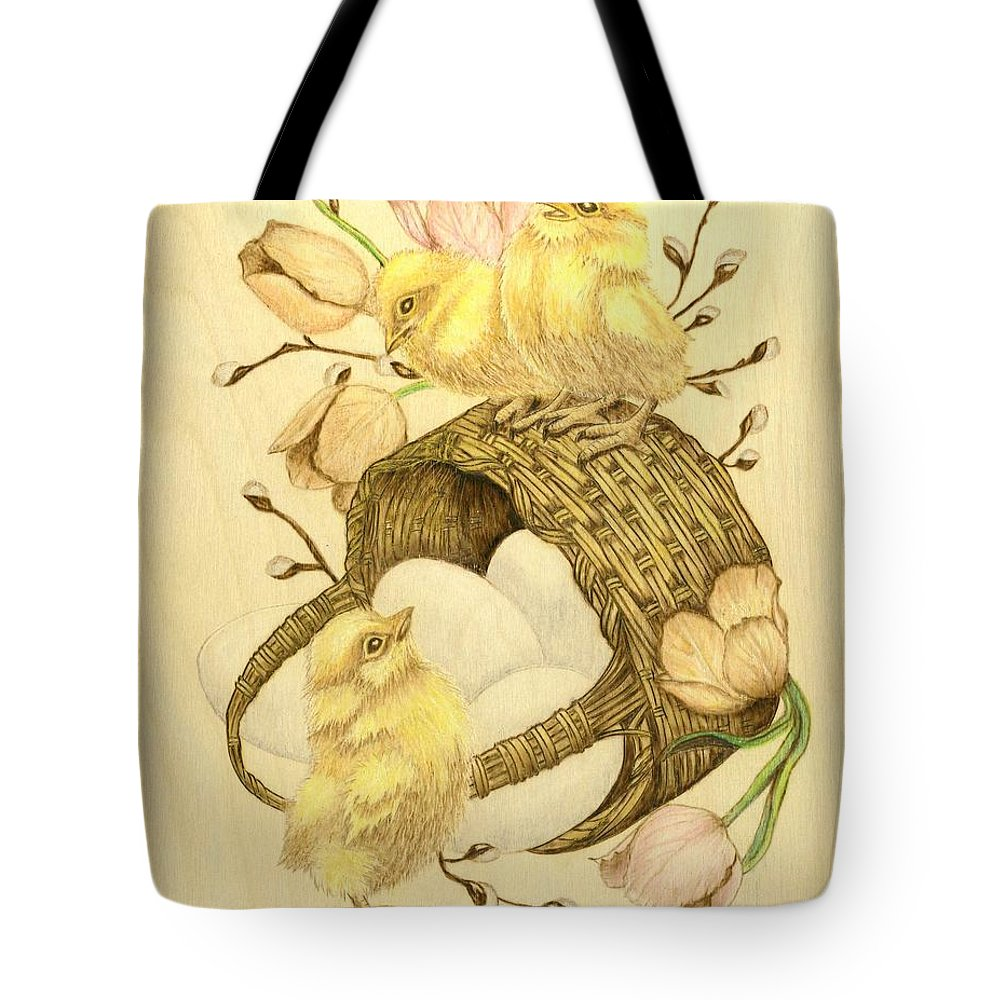 Chicks Tote Bag featuring the pyrography Baby Chicks by Danette Smith