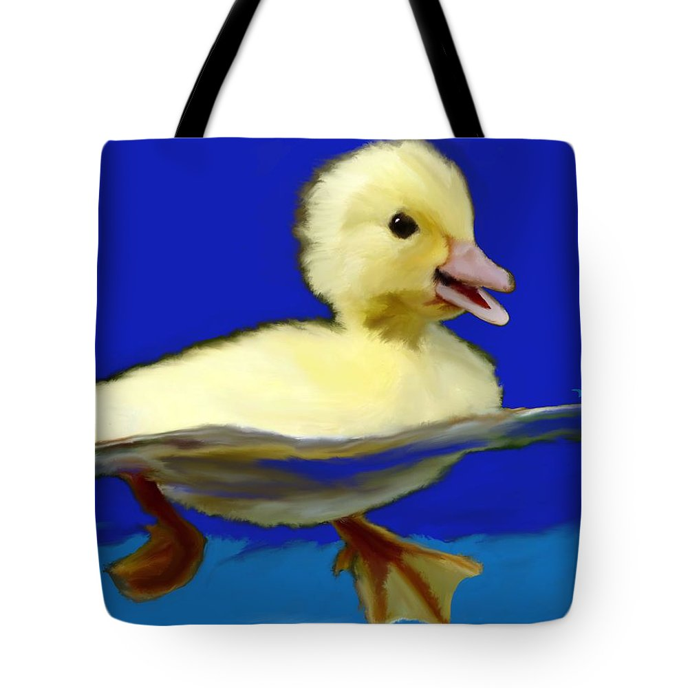 Tote Bag featuring the digital art Baby Duck by Jack Bunds