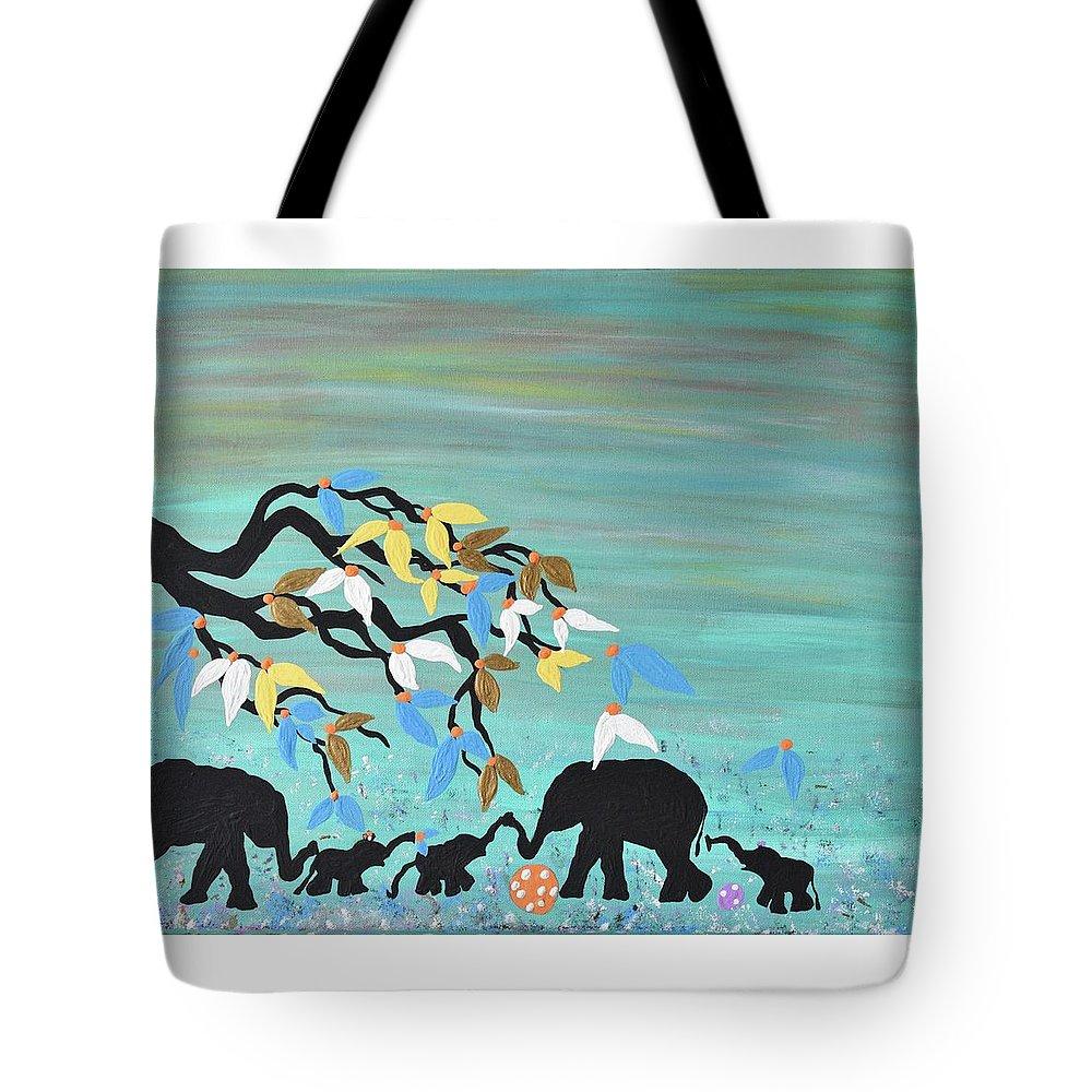 Baby Elephants Nursery Painting Blue Nursery Decor Safari Acrylic Canvas Tote Bag