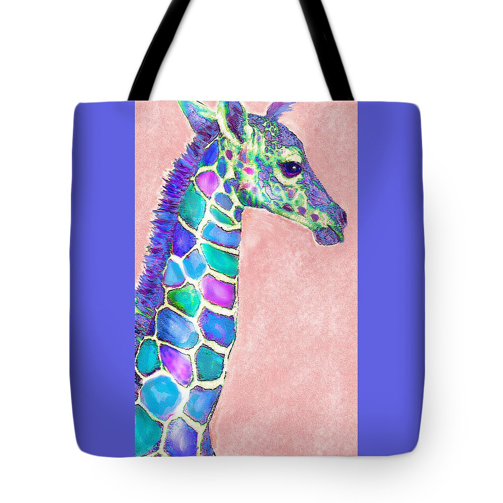 Giraffe Tote Bag featuring the digital art Baby Giraffe Pink And Purple by Jane Schnetlage