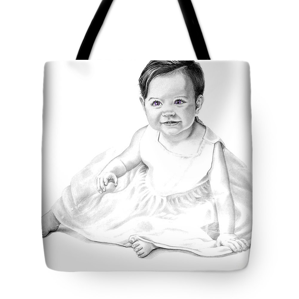 Baby Tote Bag featuring the drawing Baby Jane by Murphy Elliott