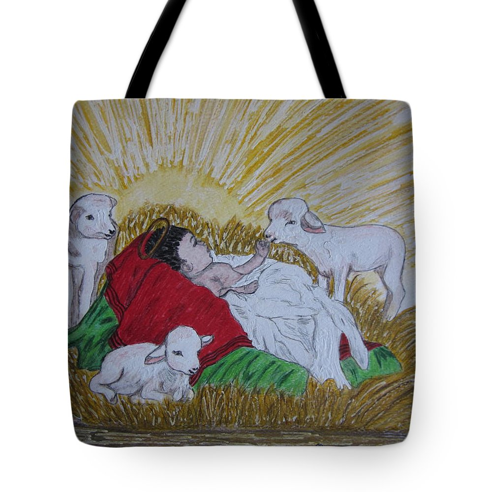 Saviour Tote Bag featuring the painting Baby Jesus At Birth by Kathy Marrs Chandler