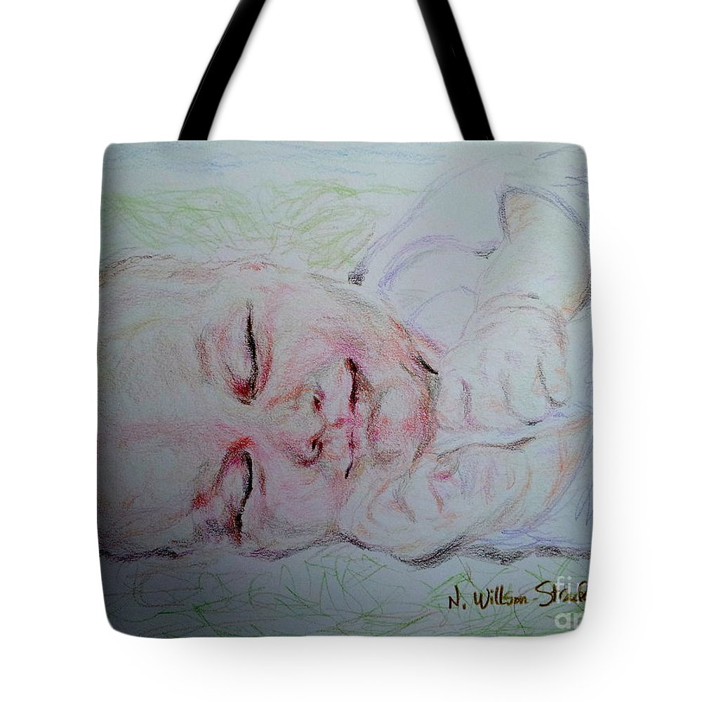 Baby Moses On The River Tote Bag featuring the drawing Baby Moses On The River by N Willson-Strader