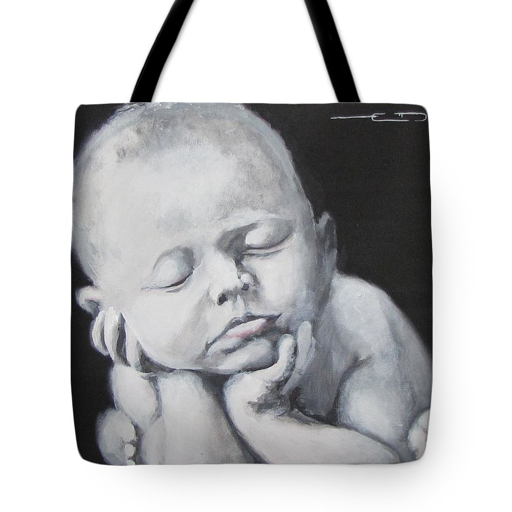Baby Tote Bag featuring the painting Baby Nap by Eric Dee
