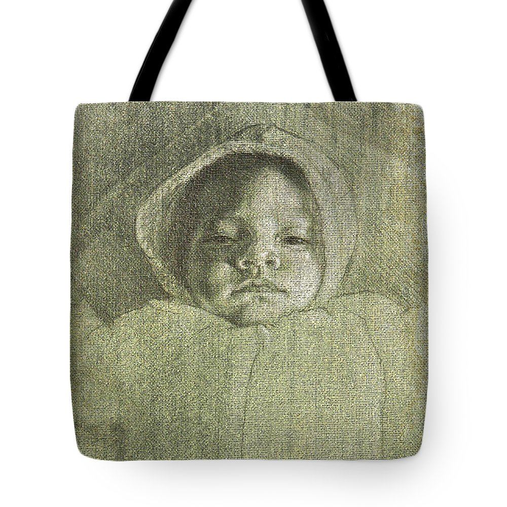 Tote Bag featuring the painting Baby Self Portrait by Joe Velez
