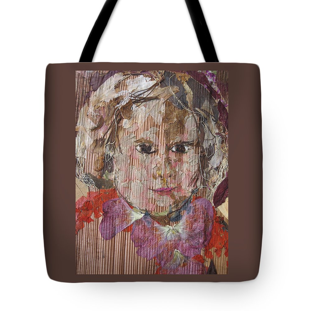 Portrait Tote Bag featuring the mixed media Baby Smiling Yet To Start by Basant Soni
