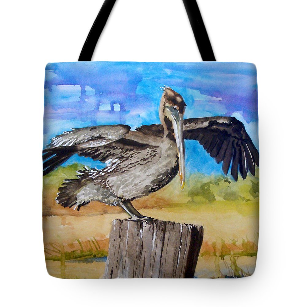 Pelican Tote Bag featuring the painting Baby Spreads His Wings by Jean Blackmer