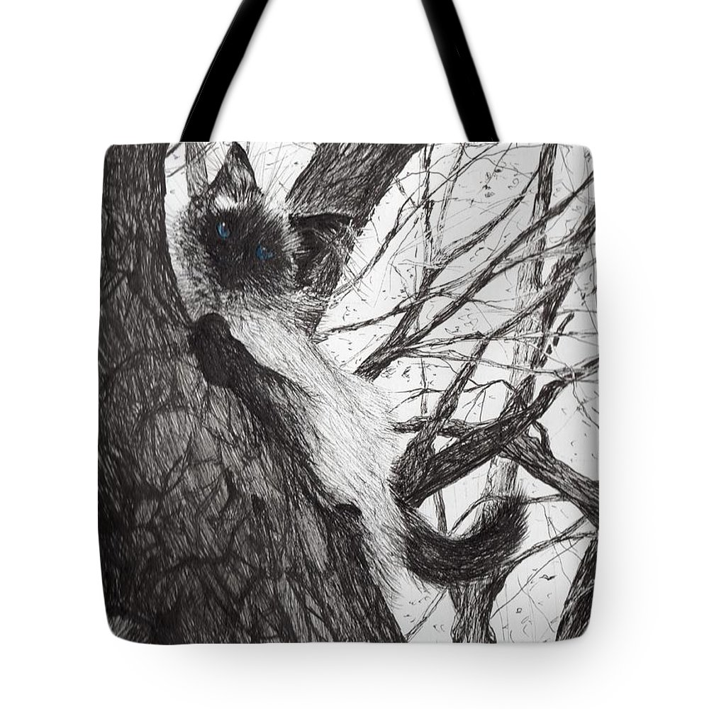 Cat Tote Bag featuring the drawing Baby Up The Apple Tree by Vincent Alexander Booth