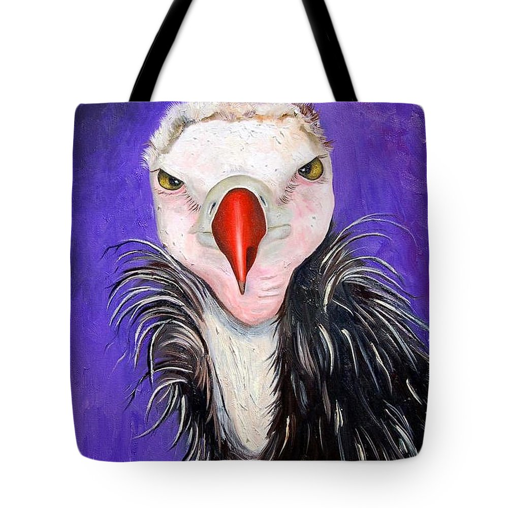 Vulture Tote Bag featuring the painting Baby Vulture by Leah Saulnier The Painting Maniac