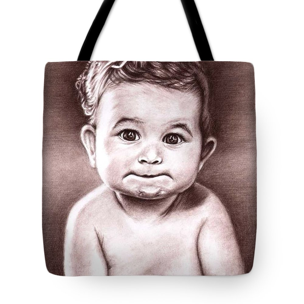 Baby Child Kind Enfant Face Sepia Charcoal Portrait Realism Tote Bag featuring the drawing Babyface by Nicole Zeug
