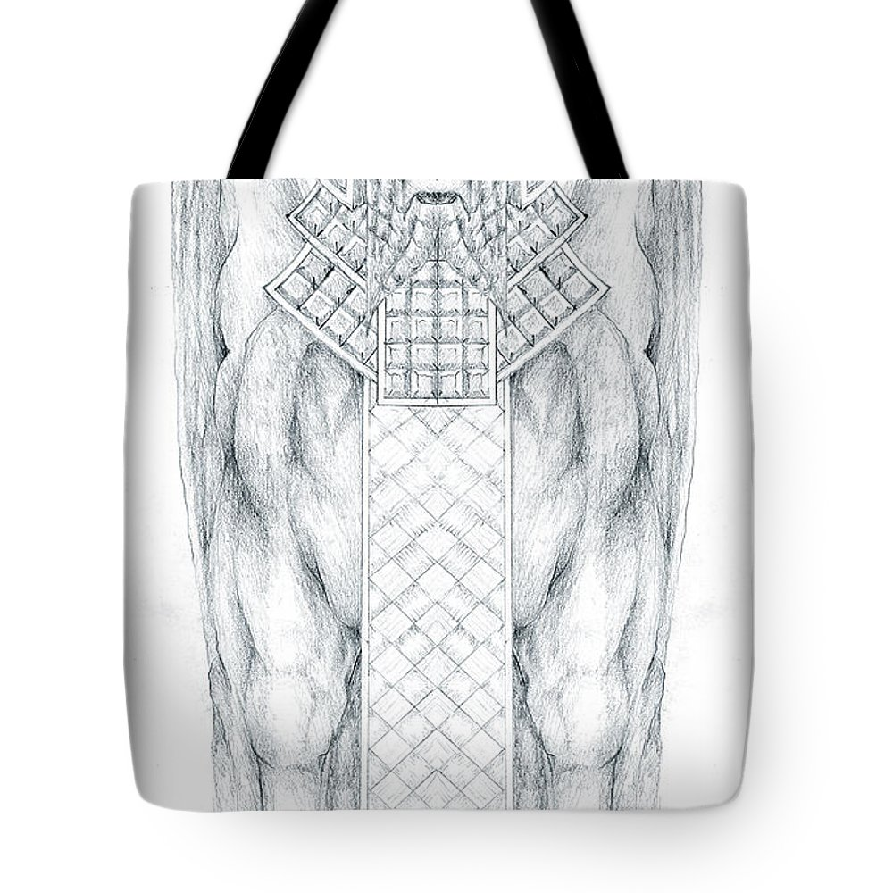 Babylonian Tote Bag featuring the drawing Babylonian Sphinx Lamassu by Curtiss Shaffer