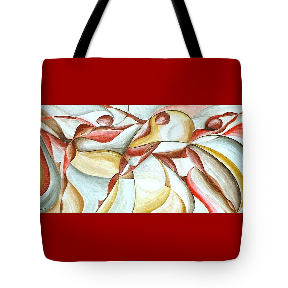 Figure Tote Bag featuring the painting Bacchanal by Rowena Finn