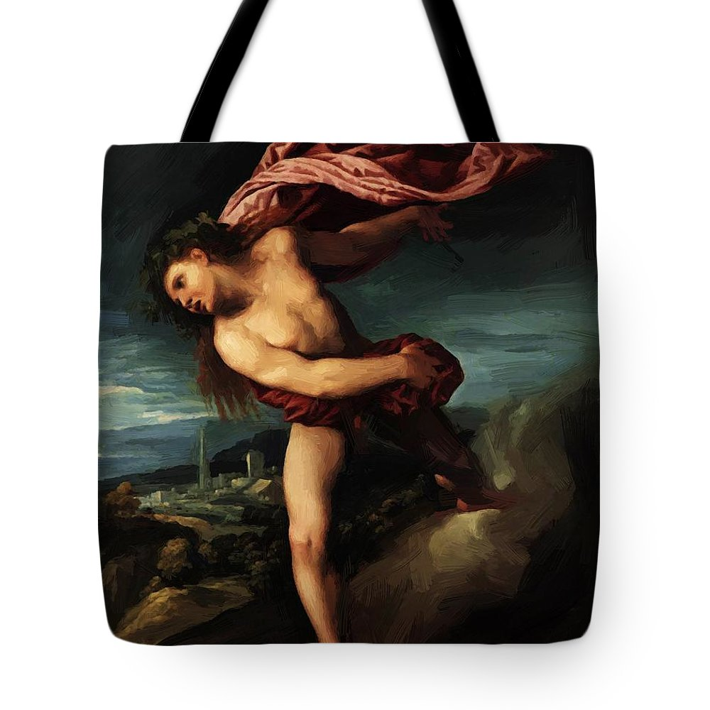 Bacchus Tote Bag featuring the painting Bacchus 1524 by Dossi Dosso