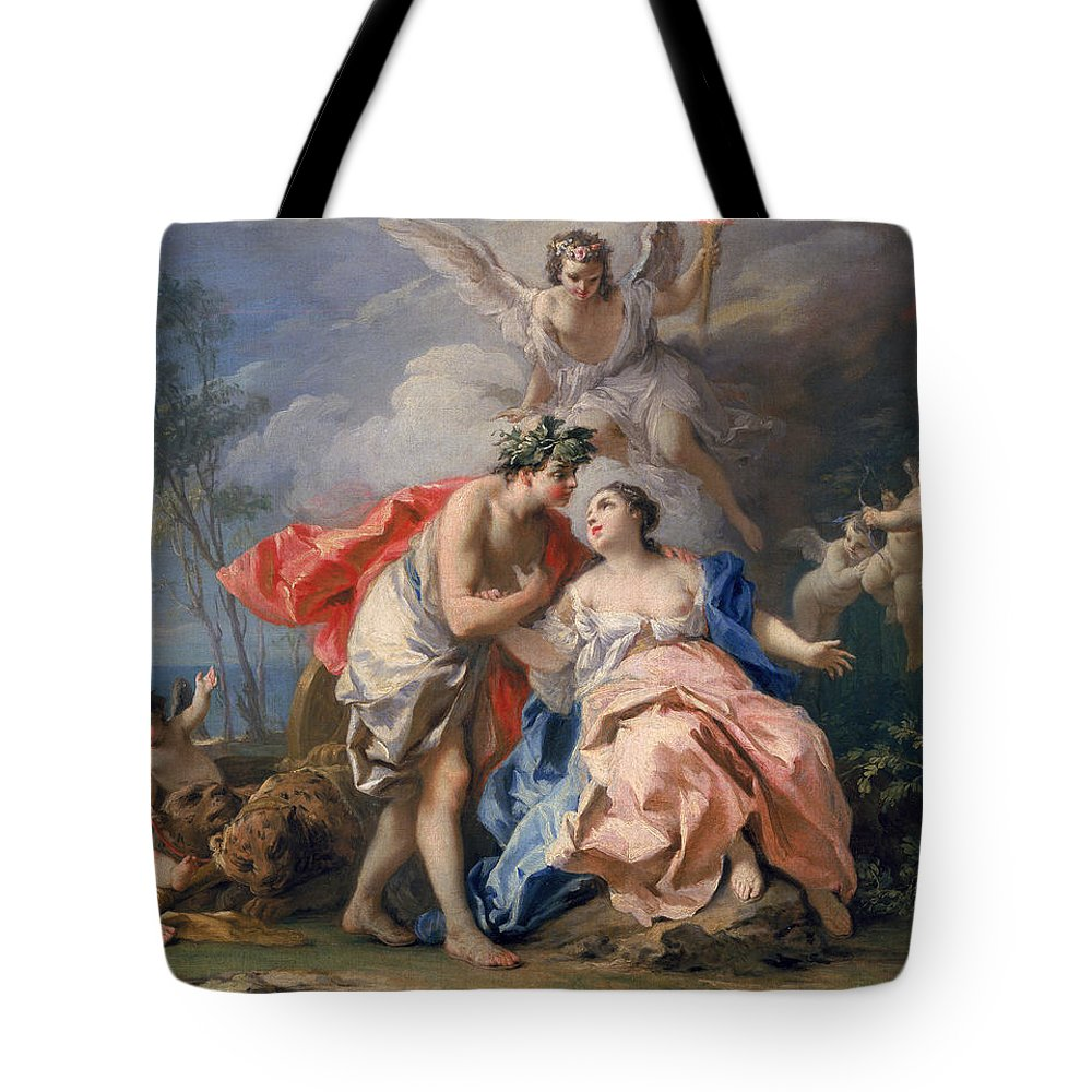 Bacchus Tote Bag featuring the painting Bacchus And Ariadne by Jacopo Amigoni