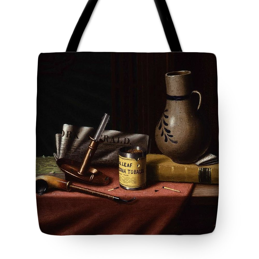 Art Tote Bag featuring the painting Bachelor S Table By William Michael Harnett by William Michael Harnett