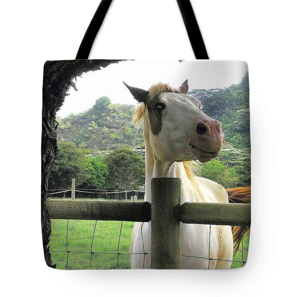 Animals Tote Bag featuring the photograph Back Fence Gossip by Mary Deal