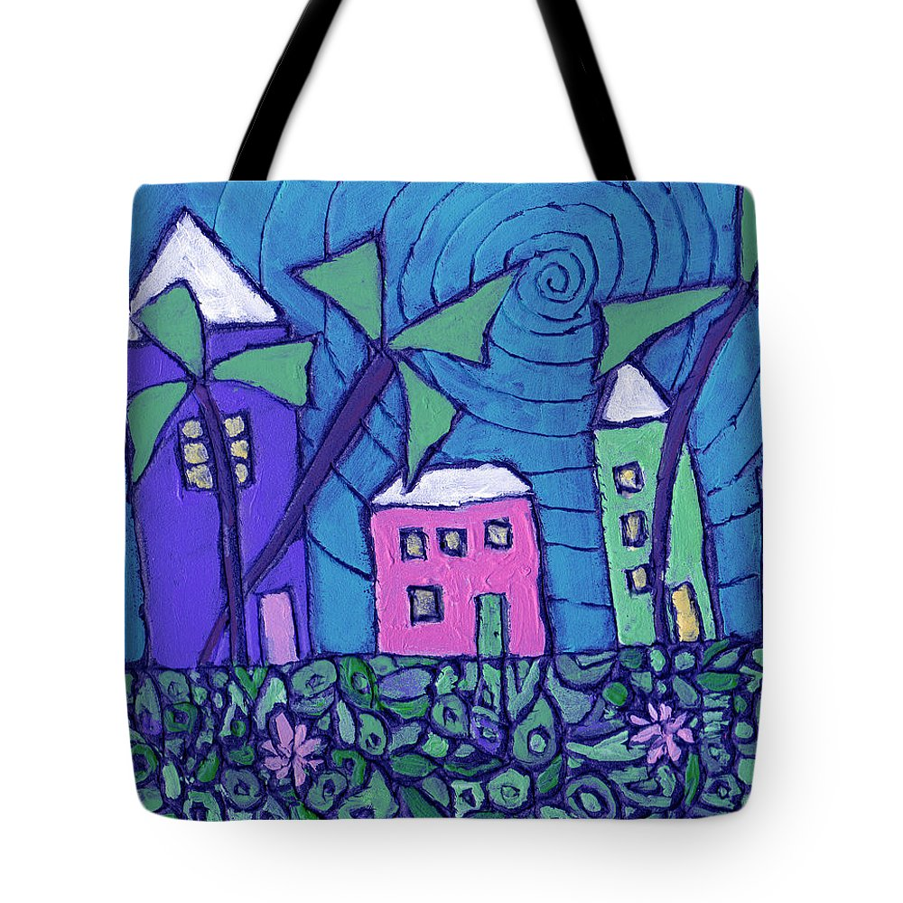 Whimsical Tote Bag featuring the painting Back Home On The Island by Wayne Potrafka