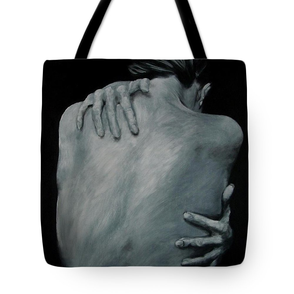 Nude Tote Bag featuring the painting Back Of Naked Woman by Jindra Noewi