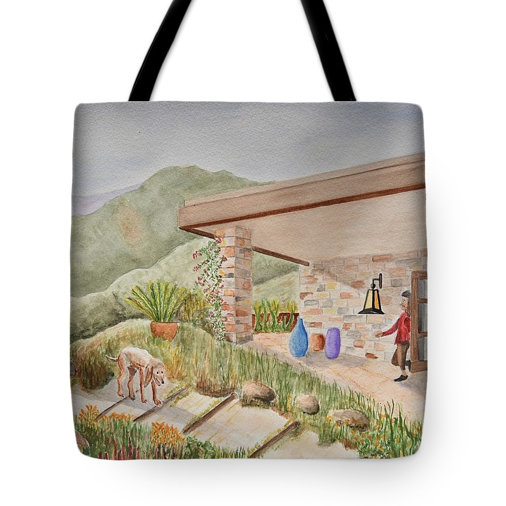 Linda Brody Tote Bag featuring the painting Back Patio by Linda Brody