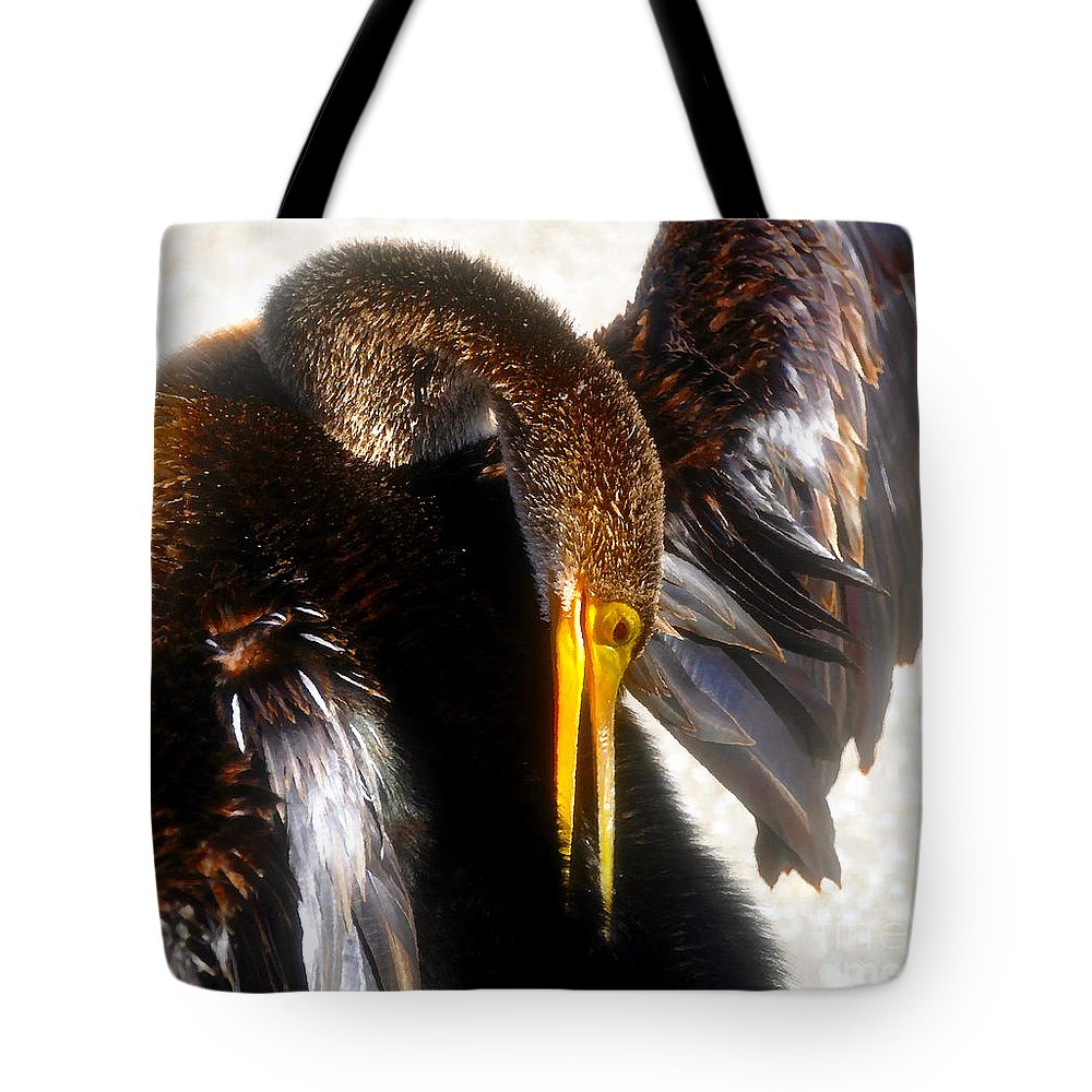 Anhinga Tote Bag featuring the painting Back Scratcher by David Lee Thompson