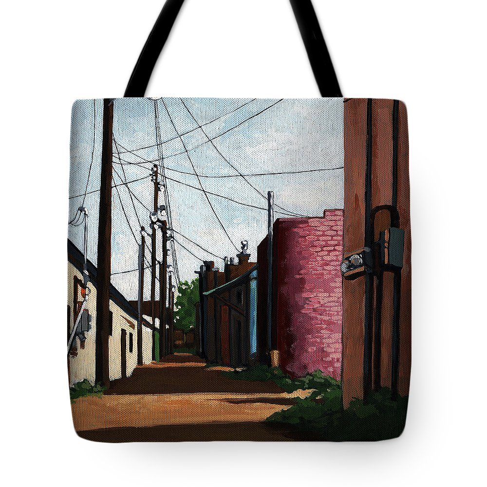 City Street Tote Bag featuring the painting Back Street Alley city painting by Linda Apple