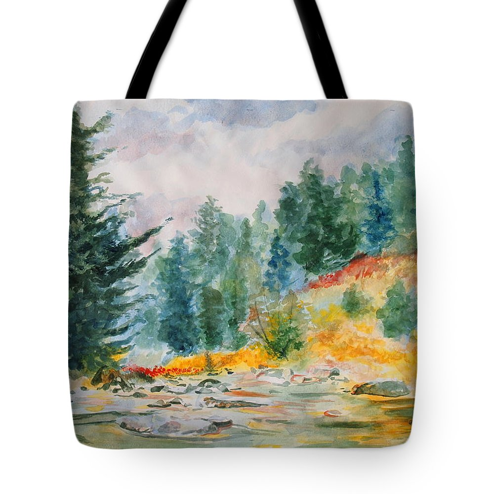 Landscape Tote Bag featuring the painting Afternoon in the Backcountry by Andrew Gillette
