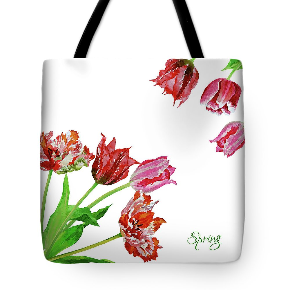 Bouquet Tote Bag featuring the digital art Bouquet Of Tulips by Natalia Piacheva
