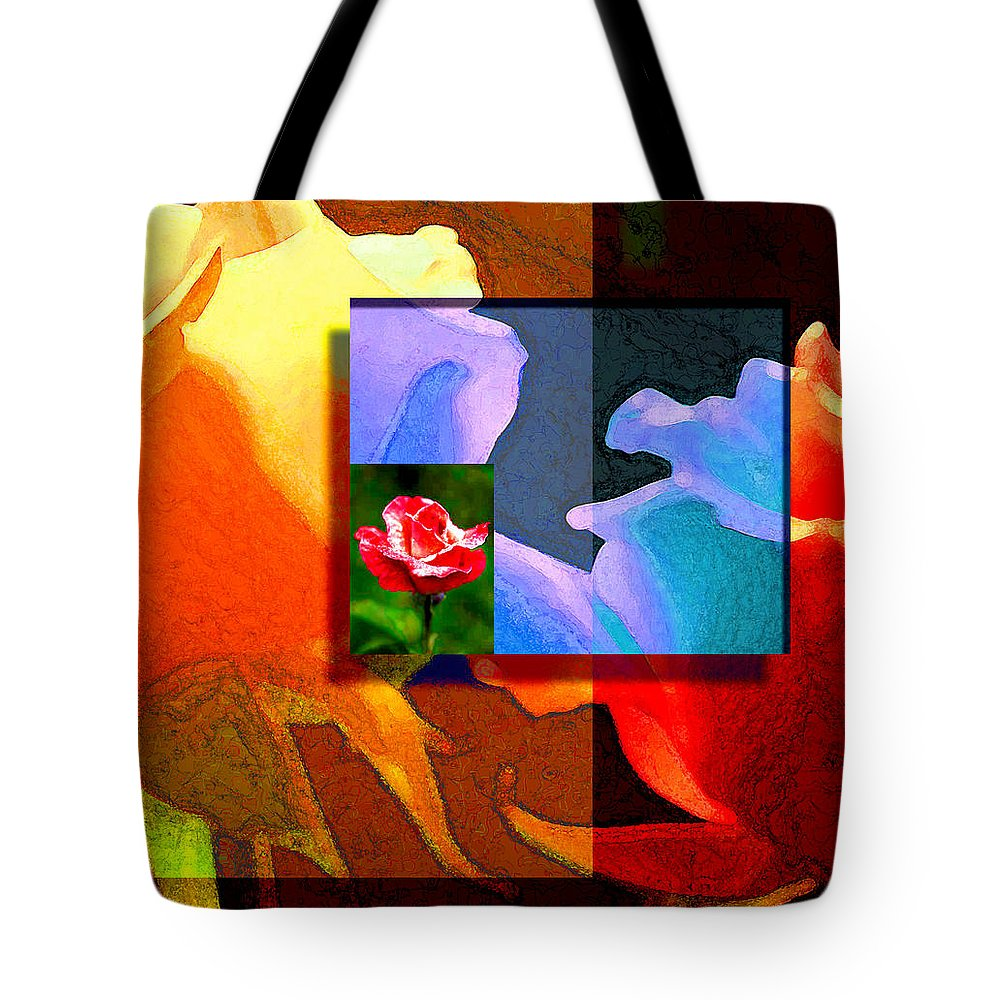 Modern Tote Bag featuring the digital art Backlit Roses by Stephen Lucas