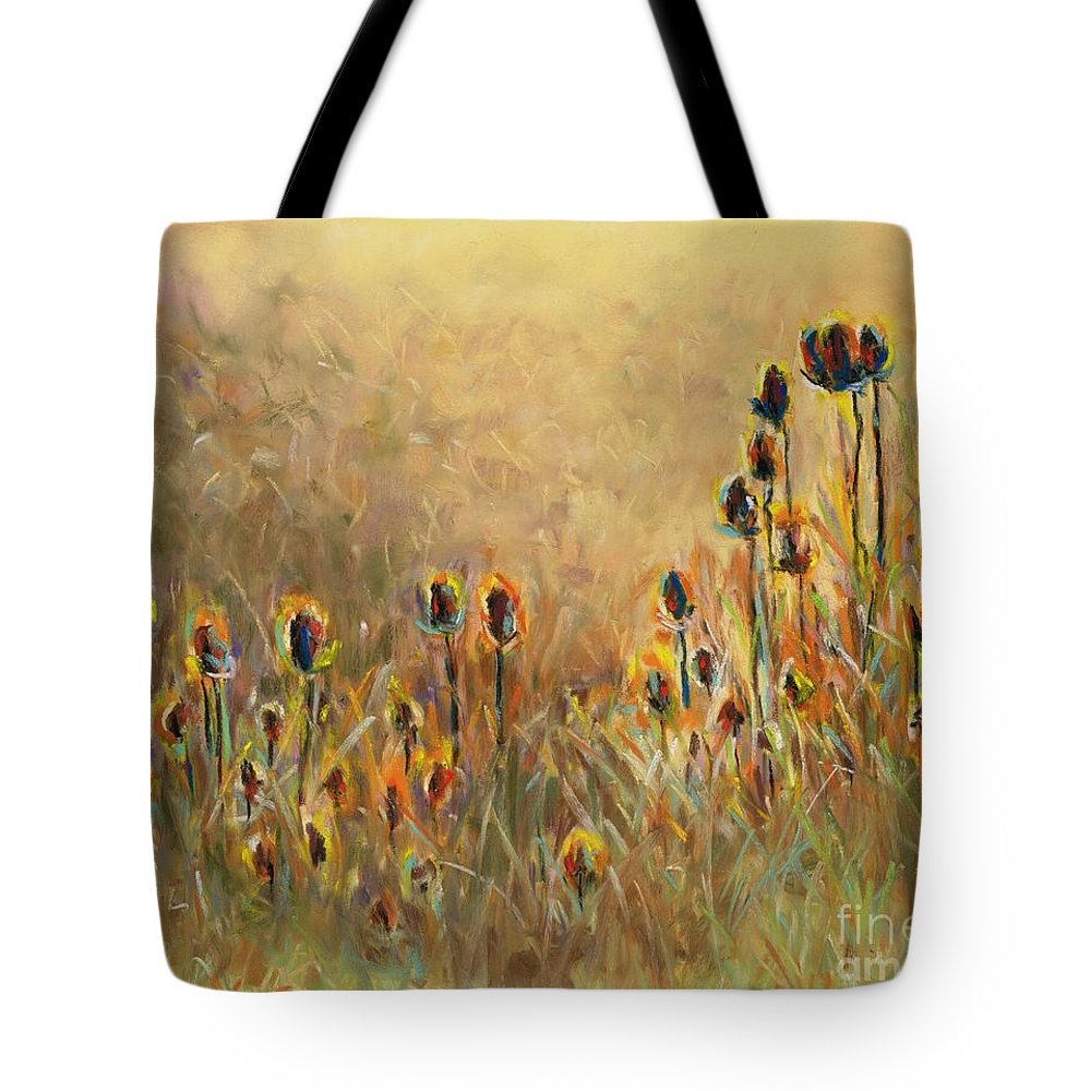 Thistle Tote Bag featuring the painting Backlit Thistle by Frances Marino