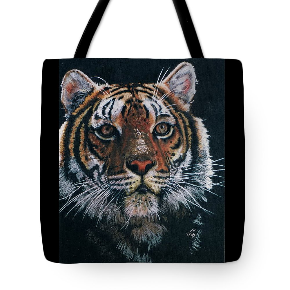 Tiger Tote Bag featuring the drawing Backlit Tiger by Barbara Keith