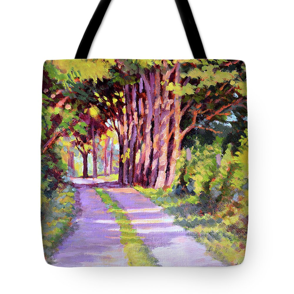 Road Tote Bag featuring the painting Backroad Canopy by Keith Burgess