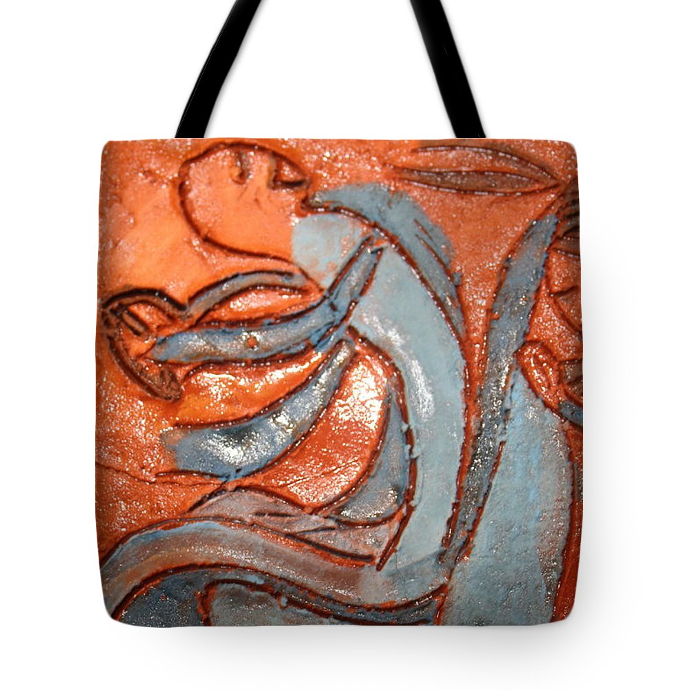 Jesus Tote Bag featuring the ceramic art Backseat - Tile by Gloria Ssali