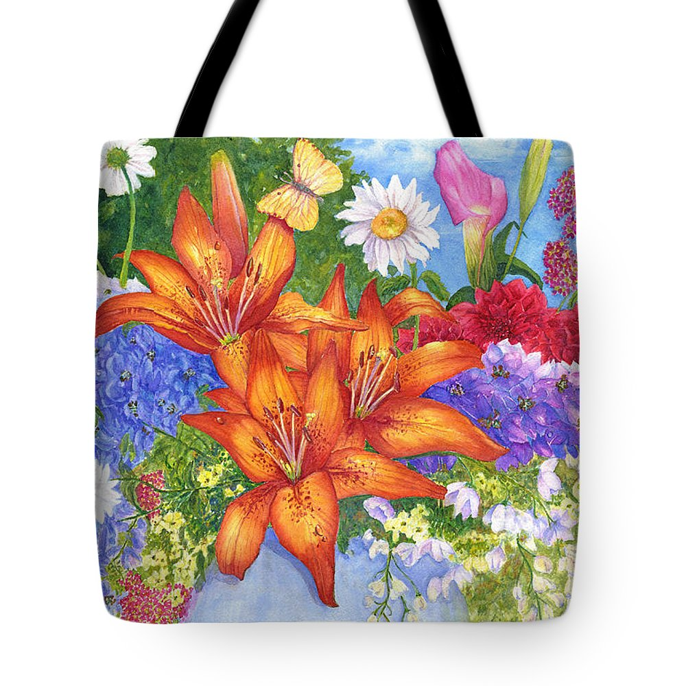 Flowers Tote Bag featuring the painting Backyard Bouquet by June Hunt