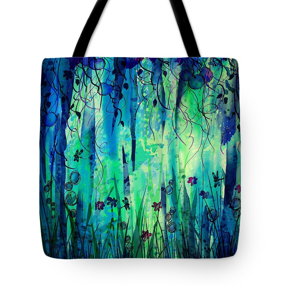 Abstract Tote Bag featuring the digital art Backyard Dreamer by William Russell Nowicki