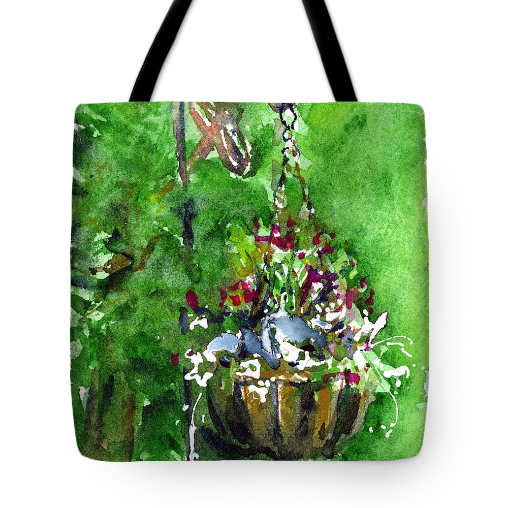 Plant Tote Bag featuring the painting Backyard Hanging Plant by John D Benson