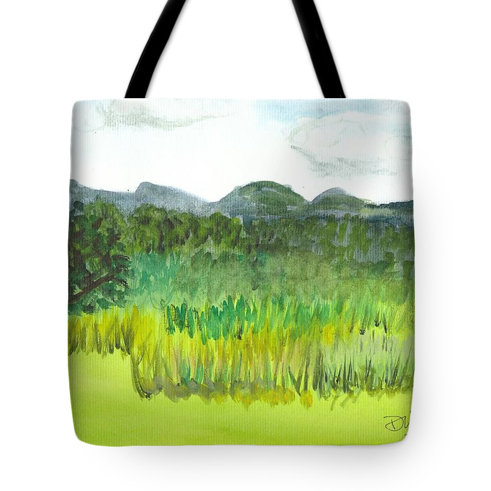 Barton Tote Bag featuring the painting Backyard In Barton by Donna Walsh