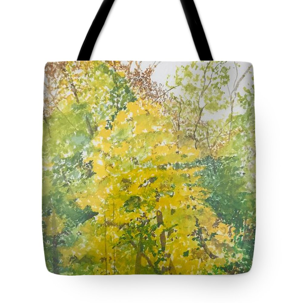Autumn Tote Bag featuring the painting Backyard by Leah Tomaino