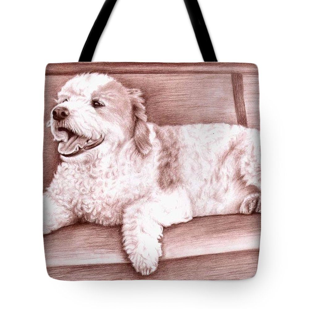 Dog Tote Bag featuring the drawing Baco by Nicole Zeug