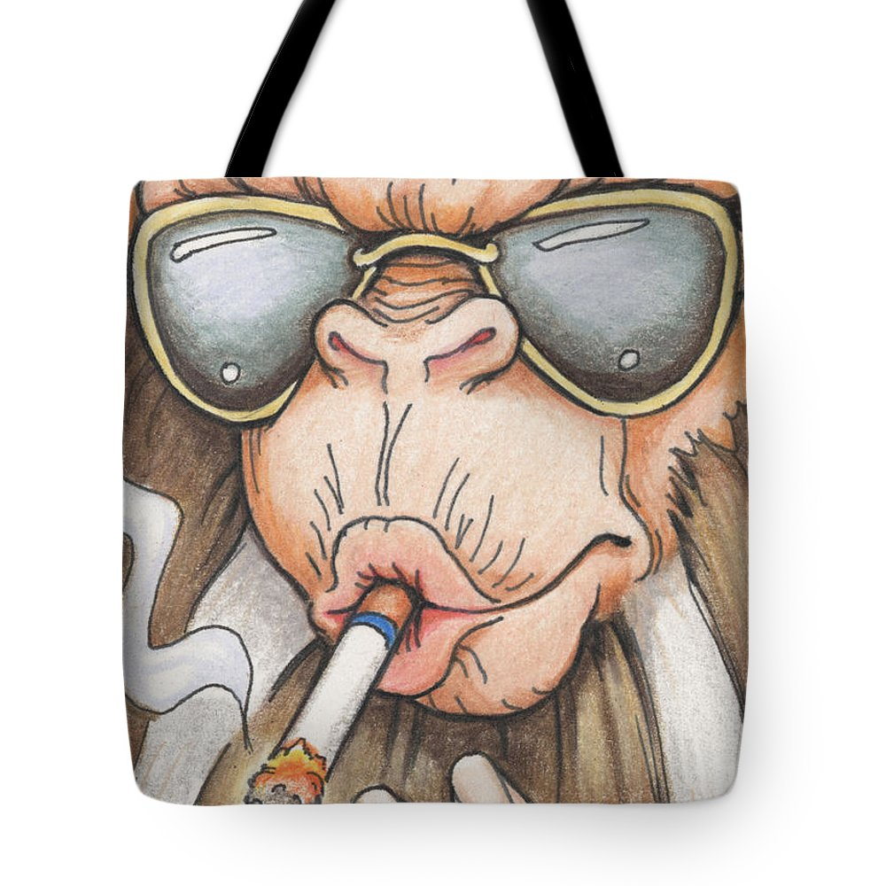 Atc Tote Bag featuring the drawing Bad Monkey by Amy S Turner