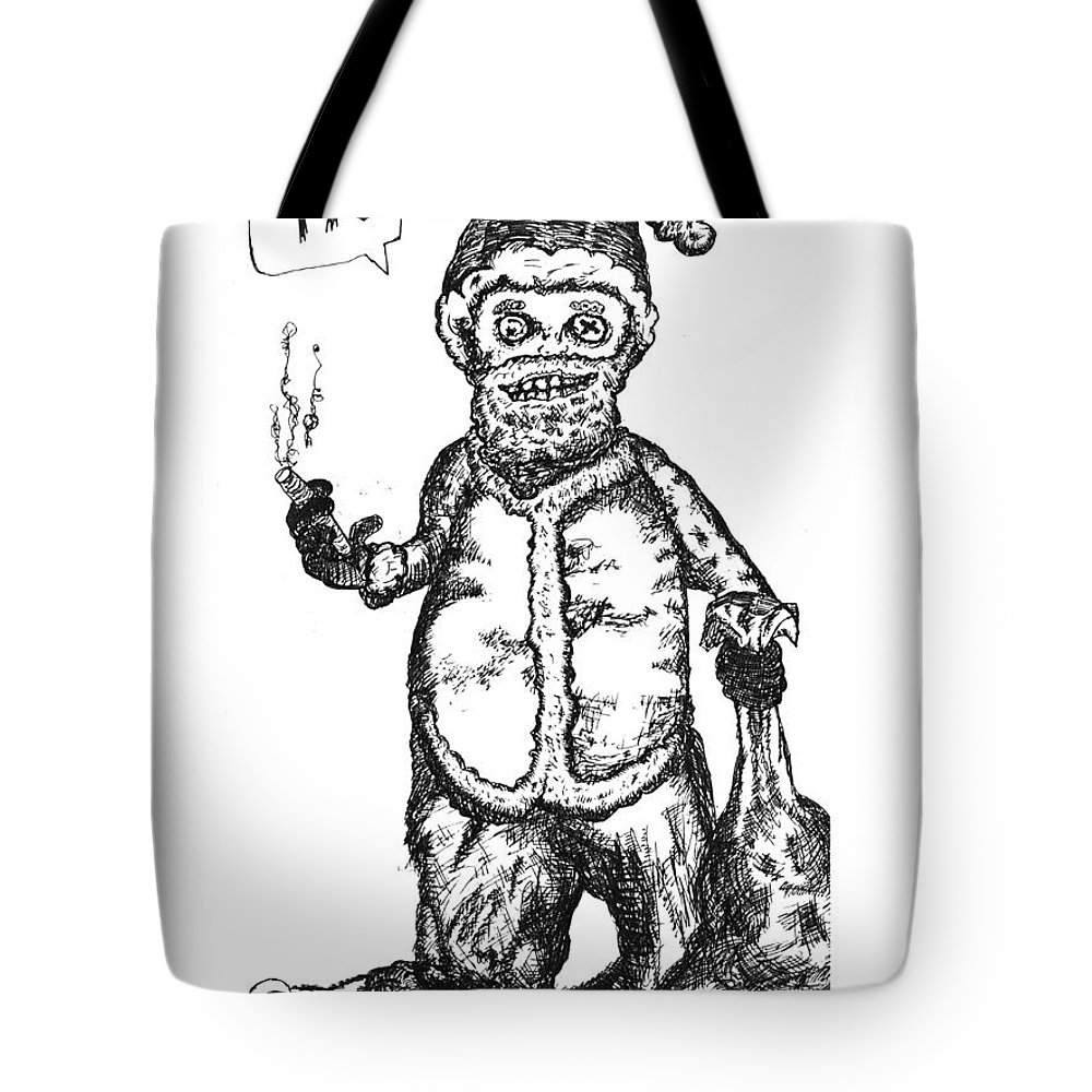 Santa Tote Bag featuring the drawing Bad Santa by Michael Mooney