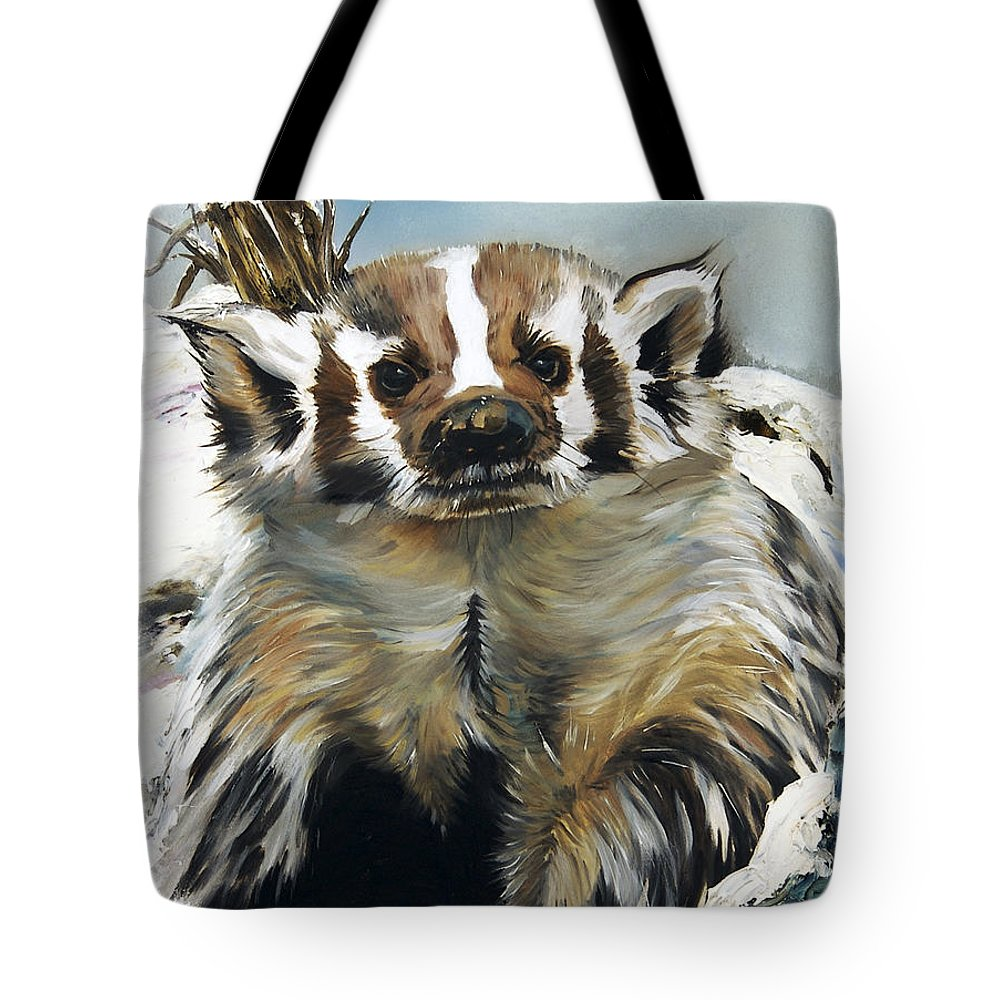 Southwest Art Tote Bag featuring the painting Badger - Guardian Of The South by J W Baker