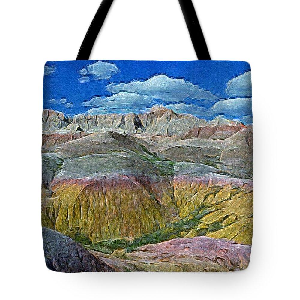 Landscape Tote Bag featuring the digital art Badlands 3 by Bryann Cole