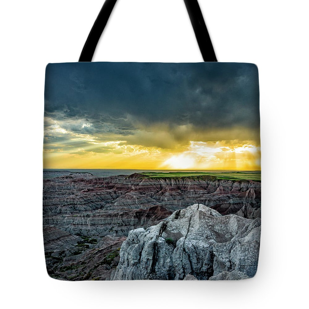 Badlands Tote Bag featuring the photograph Badlands Np Pinnacles Overlook 2 by Donald Pash