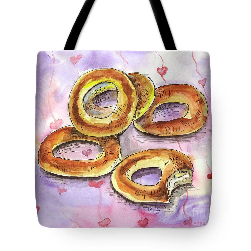 Bagels Tote Bag featuring the painting Bagels by Yana Sadykova