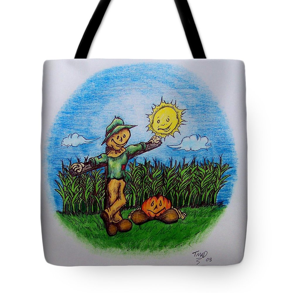 Michael Tote Bag featuring the drawing Baggs And Boo by Michael TMAD Finney