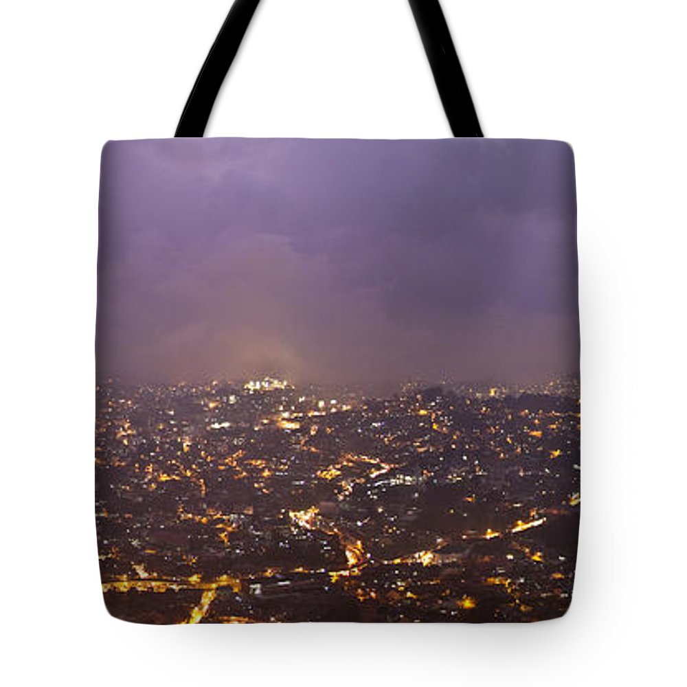 Panoramic Tote Bag featuring the photograph Baguio At Night by George Cabig