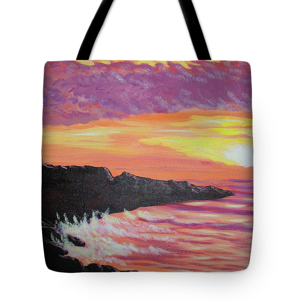 Seascape Tote Bag featuring the painting Bahia At Sunset by Marco Morales