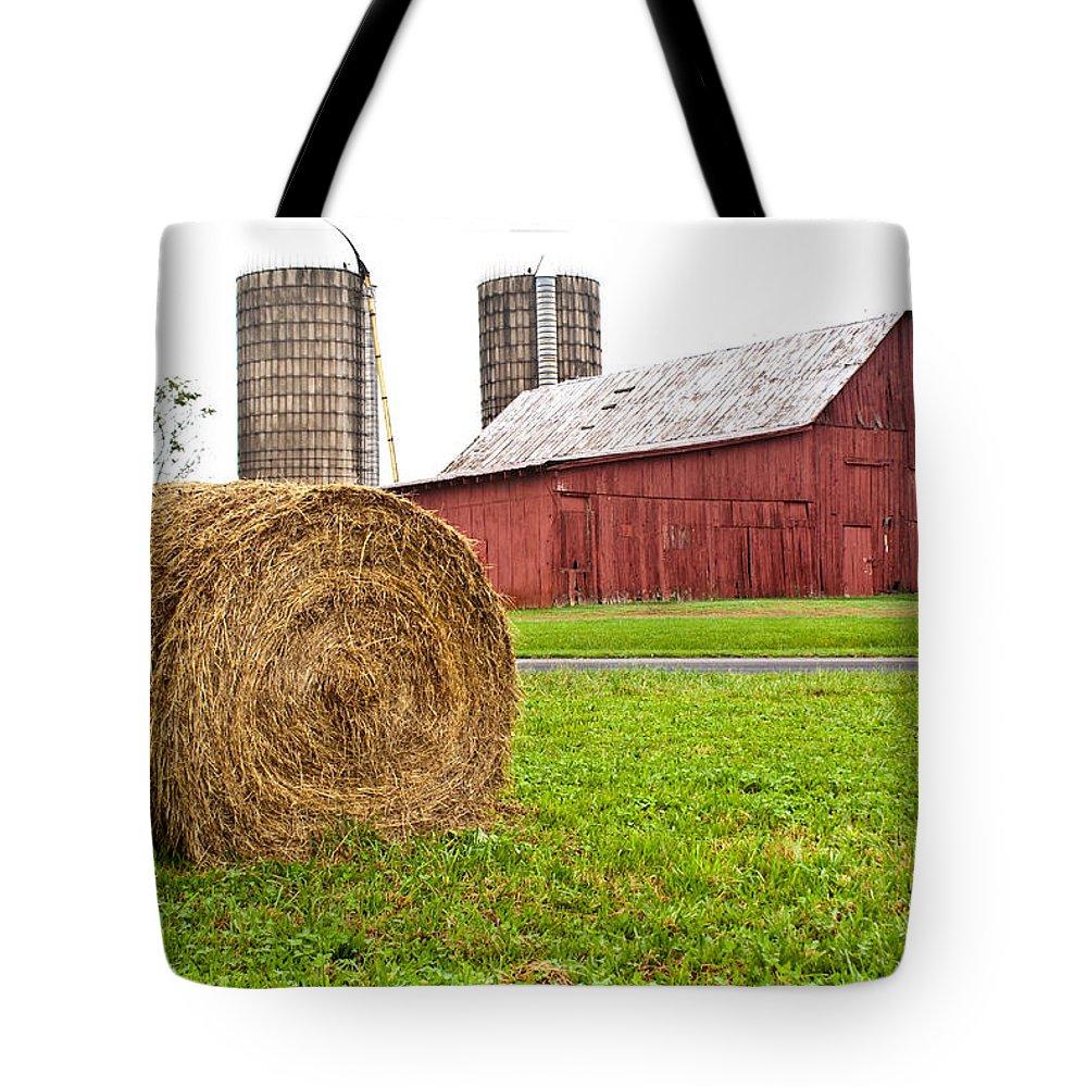 Farm Building Tote Bag featuring the photograph Bail And Barn by Douglas Barnett