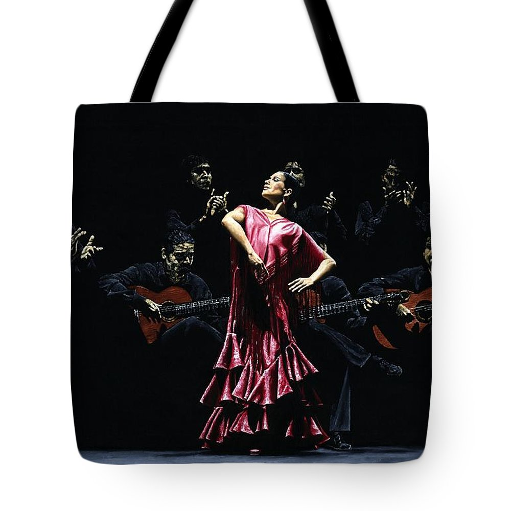 Flamenco Tote Bag featuring the painting Bailarina Orgullosa Del Flamenco by Richard Young