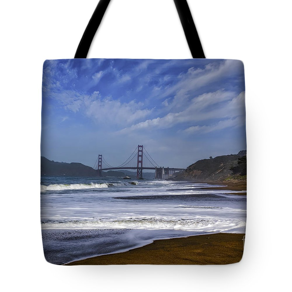 The Gateway Tote Bag featuring the photograph Baker Beach by Mitch Shindelbower